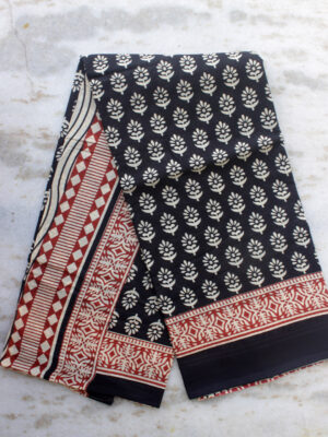 Black-white,-red-block-printed-mul-cotton-saree